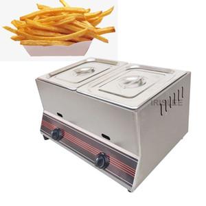 Venta profunda freidora de acero inoxidable freidora a gas comercial freidora solo tanque de gas sola canasta para freír máquina de pollo frito