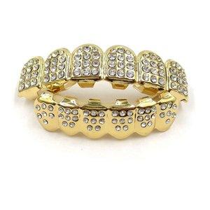 Hip Hop Grillz New Fashion High Quality Bling Zircon Dental Grills Men Women Unisex 18K Gold Plated Teeth Braces