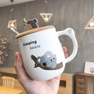 450ML mignon de bande dessinée koala tasse créative tasse de café animal en céramique avec une cuillère cuillère deux bois petit déjeuner tasse de lait couvercle