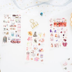6 pcs pack Meet Art Young People Sticker Stickers Diary Sticker Scrapbook Decoration PVC Stationery Stickers