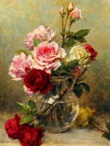 Gustave Bienvetu - Un vase de roses fleurs décorations decores HD Imprimer Peinture à l'huile sur toile Wall Art Toile Peintures 200827