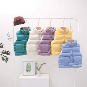 Kindermode-Weste-Mantel 2020 Winter-Jungs-Mädchen-Oberbekleidung Ärmel Mantel Kinder Stehkragen Shiny Vest Kids Winter-unten Westen