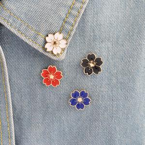 Kirsche Blumen-Goldfarben Brosche Buttons Pins Pin-Abzeichen für Taschen Japanese Style Schmuck Geschenk für Mädchen Brosche