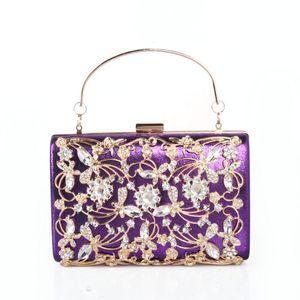 Abendtaschen Mode Lila Frauen Clutch Kristall Geldbörse Damen Schulter Messenger Handtaschen Luxus Weiß Strass Edelsteinkupplungen