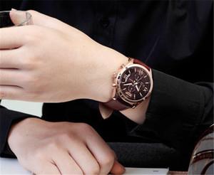 2020 la mode de bonne qualité montre-bracelet authentique mouvement quartz chronographe japon bracelet en cuir véritable boucle montre-bracelet pour broche hommes pas cher