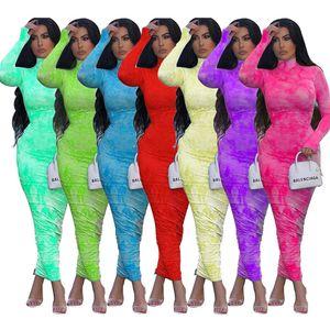 Women Designer Long Sleeve Pleated Dress Tie Dye Turtle Neck Printed T Shirt Skirt Nightclub Party Casual Ladies Evening Dresses Co896