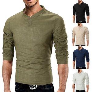 Мужская тенниска Новый стиль для осени и зимы T- Shirt Mens Fashion Pure Color воротник хлопок белье с длинными рукавами футболки дна рубашки