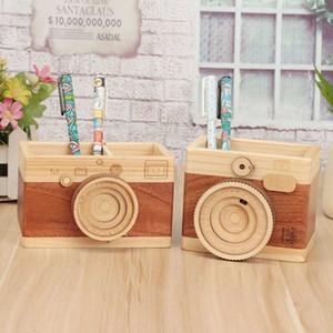New Creative Retro Wooden Mini Camera Model Pen Holder Storage Ornaments Desktop Crafts Home Decoration Stationery Gifts