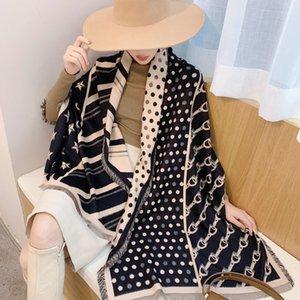 Cachemire sciarpa Donne Scialli inverno lusso per e avvolge Moda Stampa Fazzoletto Sciarpe Nero pashimina Poncho Sciarpe per le donne T200818