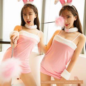 QJZKt Seksi iç çamaşırı seksi üniforma günaha sevimli tavşan iç çamaşırı tu Tu Er üniforma günaha rolü Er gece kulübünde tavşan kulakları oynamak
