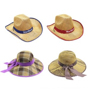 7BEkF verano aleros grandes del té de paja paja té recoger los agricultores de protección solar del sol del recorrido de vaquero occidental gran ventaja sombrero de playa de los hombres y mujeres de sombrero