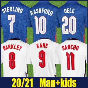 2020 Inglaterra camisa de futebol casa branca afastado camisa azul STERLING SANCHO KANE jérsei de futebol homem crianças kit camisa fooball BARKLEY DELE Rashford