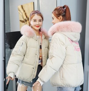 Women Clothes Fashion Letter Print Thicken Hooded Down Coats Lady Loose Winter Warm Down Parkas Outerwear Women Down Garment Coats Tops