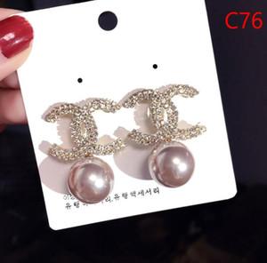OBEN! Großhandelspreis! 14K Klassische Designer-Perlen-Diamant-Ohrringe Ohrstecker Gold Silber Dangler Schmuckzubehör-Partei-Geschenk A16
