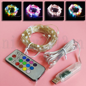 33FT 10M LED Fairy String Strip Light 5V 100LEDS Dirigente RGB Magic Dream Color Cambiar el control remoto USB para la fiesta de Navidad Weeding