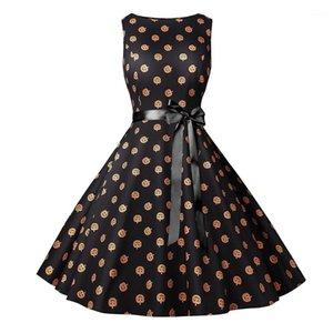 Günlük Elbiseler Moda Sonbahar Kabak Kafa Sashes Bayan Elbise Moda Dişiler Giyim Kadınlar Saints Day yazdır