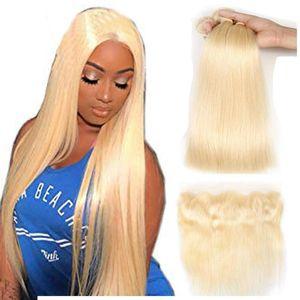 A 613 Blonde Bundles With Frontal Ear To Ear Straight Human Hair Bundles Blonde Virgin Hair Weave 3 Bundles With Frontal 613 #Ligh