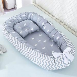 88 * 53cm Baby Nest Cama com travesseiro Berço portátil Cama de viagem Berço de algodão infantil para cama de bebê recém-nascido Bassinet Bumper LJ200818