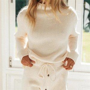 Ensemble 2 pièces de mode haut Pull col Haut-dessus Pantalon Knee Womens Designer Survêtements Natural Color