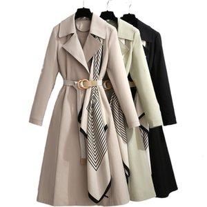 Escudo Zhisilao remiendo largo Oficina Fajas Trench elegante cazadora otoño invierno 2020 más el tamaño de color caqui Negro Outwear