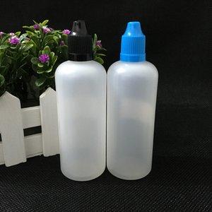 PE botella plástica del cuentagotas de envío libre 100ml Vacío Liquid E botella de aceite Childrenproof Thin Cap Consejos largo