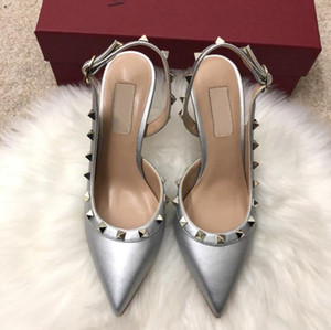 Hot Sale-fashion women pumps Casual Designer Gold matt leather studded spikes slingback high heels shoes