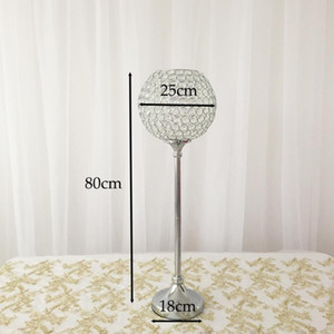 10pcs Lot Silver Candle Holder with Crystal Beads Centerpiece for Table Decoration Wedding Event Decoration