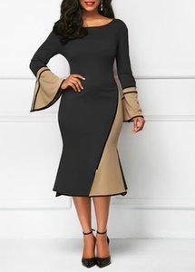 Flare рукавом платье для женской моды Дамы Бальные платья Женская весна Щитовые Pencil платья Sexy Русалка