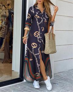 نساء بدوره إلى أسفل القميص الياقة فستان طويل الصيف زر سلسلة طباعة اللباس عارضة الخريف كم طويل شاطئ فستان ماكسي فستان 4XL HT-3