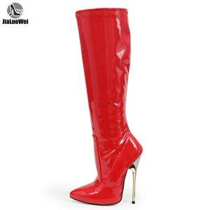 jialuowei nuovi arrivi Red Patent Fetish sexy alto a spillo ginocchio tacco stivali alti dimensioni Big