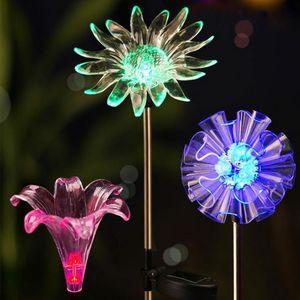 Puntata solare luci esterne Solar Garden LED illumina impermeabile Auto On / off solare Paesaggio Lights Cambiare colore del LED
