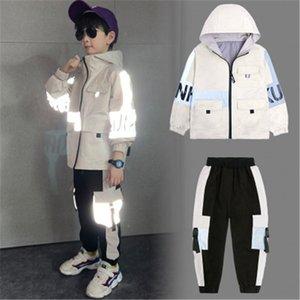Jacket Boy New Style outono Crianças casaco com capuz Quente outerwear crianças refletem a luz Clothings Set navio livre