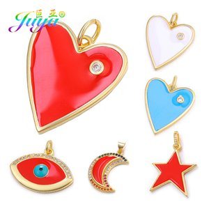 Juya DIY Enamel Charms Suppies Gold Color Heart Shape Moon Star Evil Eye Charms For Fashion Pendant Jewelry Making Accessories
