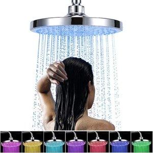 8 بوصة الصمام دش رئيس اللون تغيير دش دش جولة المطر الفولاذ المقاوم للصدأ الحمام RGB الصمام ضوء المياه التلقائي درجة الحرارة الاستشعار رذاذ