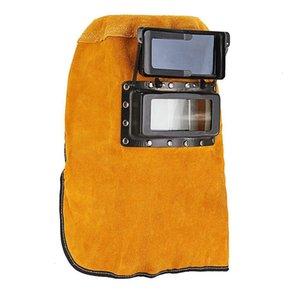 Cowhide Solder Mask Protect Leather Head-Mounted Slag Welding Helmet Mig Yellow Lens Welder Arc Mars Filter Tig Sparkproof Hood Kevxm