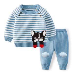 In 2 Stück setzt Kinder Kleidung Mädchen Strickset Hülse lange Dog Fox Entwurf Pullover + Pant Kleidung stellen kleines Mädchen