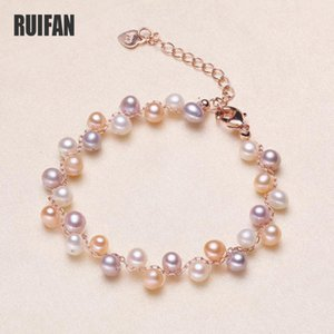 Ruifan 5mm Fashion Natural Freshwater Pearl Bracelet for Women 5 Color Pears Charm Bracelets Female Jewelry Gift YBR130