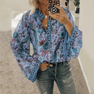 Peacock Print Boho Blouse Womens Tops And Blouses Long Sleeve Casual V neck Women Tops Loose Blusas Mujer De Moda 2019