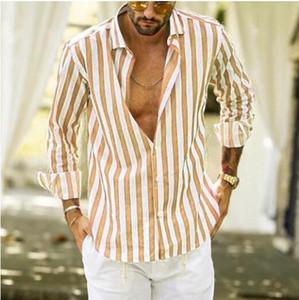 Дизайнер Mens Casual рубашки Кардиган Полосатый с длинным рукавом нагрудные Шея Свободные рубашки платья вскользь однобортный Homme Топы