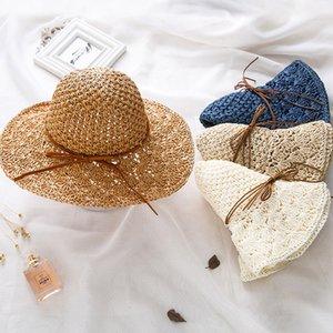 Verão chapéus de sol para as mulheres Straw Sun Hat Lady Bow Panama Beach Hat Floppy Feminino Big Brim Viagem Folding Chapeu