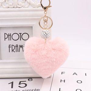 Fur Pom Fashion Lovely Heart Poms Doll Car Ball Toy Bag Imitation Shaped Key Ring Monster Keychain Keychian Mdpec
