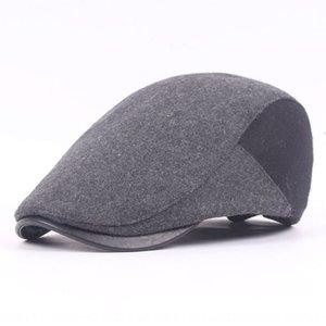 Quente Cap Beret Pointed beirais couro boina das mulheres dos homens Qpyqc lã boné de pala outono e inverno quente chapéu frente de meia-idade e idosos