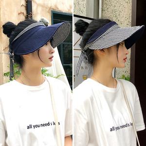 Summer double-sided lattice sun visor half-empty top hat female big brim fisherman hat outdoor outing sweet