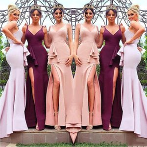 Sexy Deep V Neck Mermaid Bridemaid Dresses Blush Pink 2020 New Fashion Side Split Prom Dresses Long Wedding Party Gowns