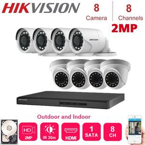 أنظمة الإنجليزية Hikvision 8-Channel DVR مسجل مع 2MP للرؤية الليلية قبة و كاميرا مراقبة في الهواء الطلق أطقم