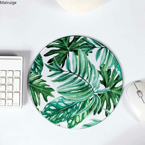 Mairuige Mouse Pad Banana Leaf Cactus White Seaming Round Mouse Pad Small Rubber Soft Gaming Table Mat Custom 20*20CM