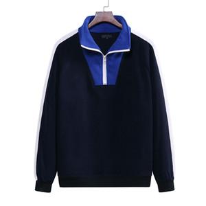 Casual Designer Mens Hoodies 20FW contrasto di colore con pannelli a maniche lunghe Zipper Neck Pullover Top Nuovo Abbigliamento Uomo