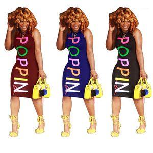 Clothing POPPIN Women Summer Dresses Skinny Colorful Printed Dresses Designer Sexy Club Fashion Sleeveless Dresses Female