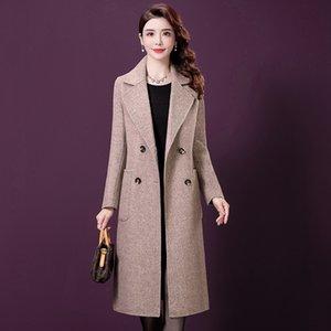 пальто oBk6w 2019 осени и зима Нового большого размера одежды SLIM Mom Put MOM PUT матери подходят тонкой мода все-матч темперамент средней длиной горе