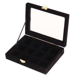 Sacchetti di gioielli, Borse 12 Grids Griglie Top Top Velvet Box Display Vassoio perline perline Mostra custodia